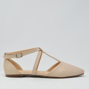 NEW Women's Nude Strappy Flat